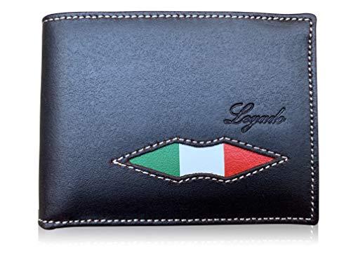 Cartera Hombre Piel LEGADO Cartera Hombre Piel Bandera Italia Cartera para Hombre Italia Bandera Cartera Piel Ubrique Bandera de Italia (Marron SIN Broche)