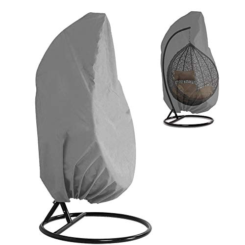Waterproof Patio Hanging Chair Cover 210D Oxford Fabric Heavy Duty Egg Swing Chair Covers Veranda Patio Cocoon Chair Garden Furniture Protective Cover with Elastic Hem and Drawstrings (Grey)