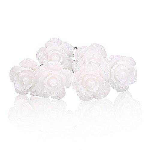 Autiga 6 Blumen Haarnadeln weiß Blüte Hochzeit Braut Haarschmuck Blumenhaarnadel Kommunion Haarpins Brautschmuck Duttnadeln weiß 6er Set