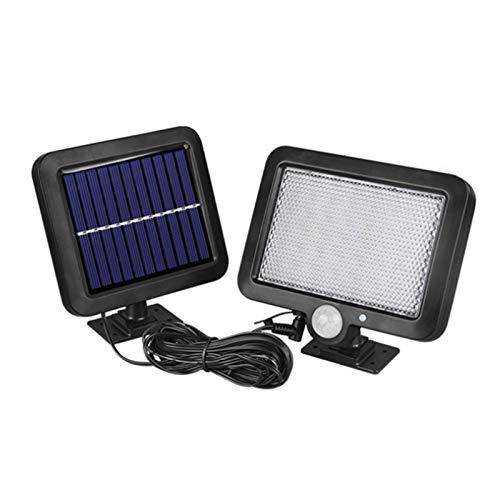 Luz de seguridad con sensor solar, 56 luces LED de pared solares divididas para exteriores, foco con energía solar IP65 a prueba de agua con gran angular de 120 ° y 3 modos de iluminación para jardín