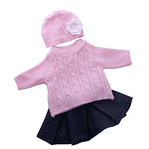 Gazechimp Puppen Pullover, Faltenrock, Hut Puppenkleidung Set Für 18 '' American Girl Puppe Outfit Zubehör