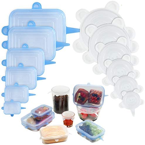 Silicone Stretch Lids Reusable 12 pack Godmorn Round Rectangle Food Storage Silicone Lids Cover product image