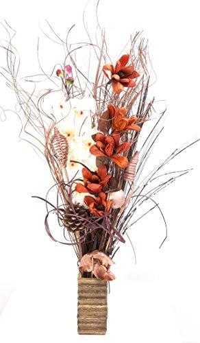 Oro rosa, natural y chocolate exótico floral exhibición orgánica de flores hechas a mano y hierbas secas indias. Jarrón de madera. 85 cm de alto.
