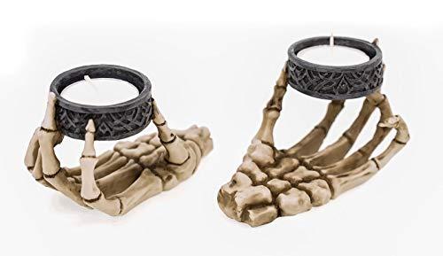 Skeletthand Teelichthalter 2er Set - Kerzenhalter Skelett Totenkopf Gothic Deko
