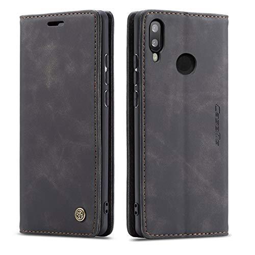 Bigcousin Funda Compatible con Huawei P Smart 2019/Honor 10 Lite,Funda Libro con Tapa Funda Móvil Magnética Carcasa,Negro