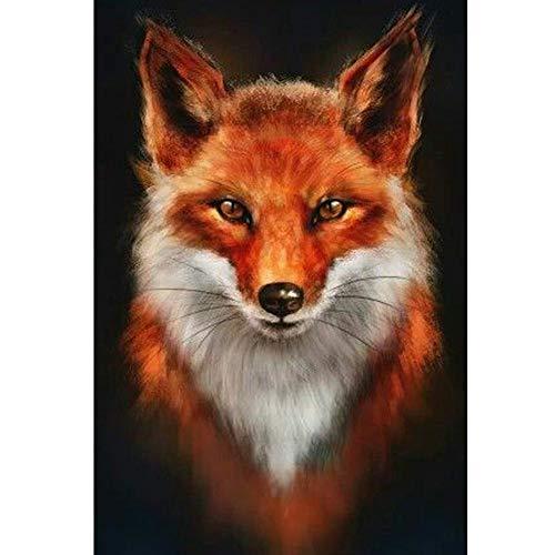 Lazodaer Kit de pintura de diamante 5D para adultos, kit de pintura de bordado de diamante, arte para decoración de la pared del hogar, fuego Fox animal, 30 x 39,9 cm