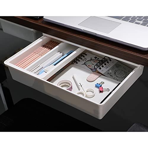 Under Desk Drawer, Easy to Install Under Table Drawer, Desk Drawer for Pencil/Pens/Phone/Keys/etc., Large, White
