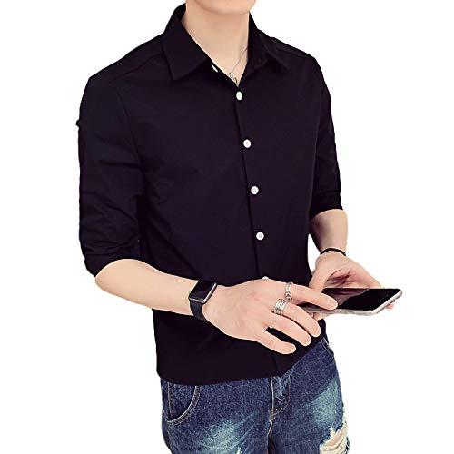 Camisa de Manga Corta para Hombre Verano Simple Casual Color sólido Un Solo Pecho Camisa de Manga Media de Gran tamaño Camisa Diaria al Aire Libre M