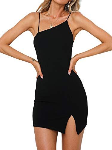 just quella Women Black Bodycon Mini Dress Sexy Clubwear Party Dresses (S, Black Bodycon Mini Dress)