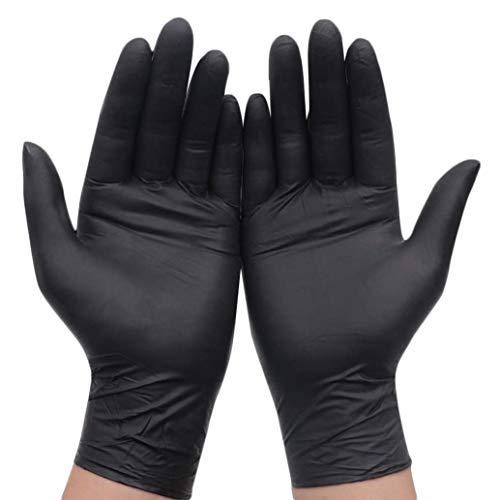 QQLOV - Guantes desechables de látex negro sin polvo, tamaño mediano, para tatuadores, peluqueros, salón de belleza, jardinería, decorador, garaje (200 guantes), 200 unidades, Medium