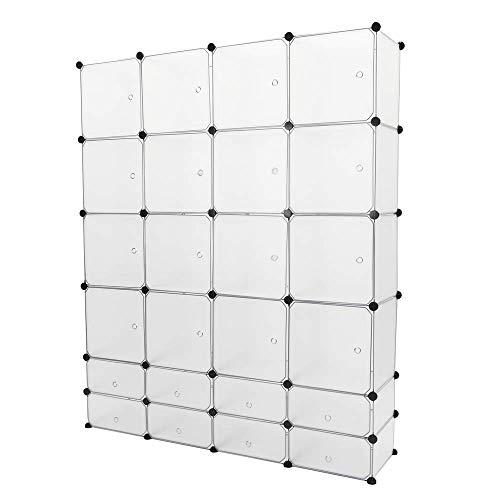 PrimeMatik - Armadio Guardaroba scaffale modulare di 24 cubi 35x35cm 17x35cm Bianco con Porte
