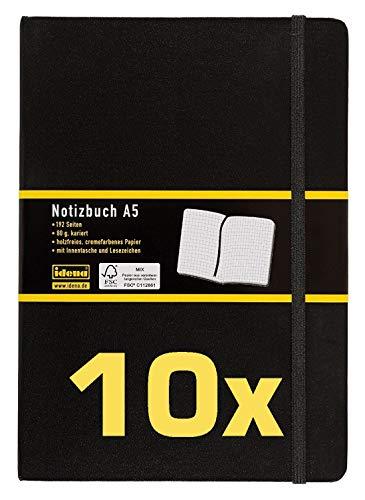 Idena 209281 Notizbuch FSC-Mix, A5, kariert, Papier cremefarben, 96 Blatt, 80 g/m², Hardcover in schwarz (10 Stück, kariert)