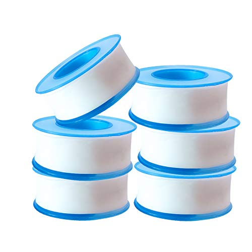 6 Rolls Plumbers Thread Tape, Thread Seal Tapes, PTFE Industrial Sealant Tape for Plumbers,White 3/4 Inch x 520 Inch