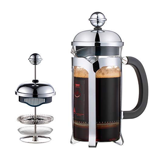 2021 Upgrade French Press Coffee Maker(12 oz),EAXCK 304 Stainless Steel Coffee Press 4 Level Filtration System,Heat Resistant Thickened Borosilicate Glass,Durable Easy Clean,100% BPA Free
