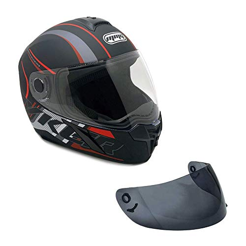 MMG Motorcycle Full Face Helmet DOT Street Legal Extra Visors Comes with Clear Shield and Smoked Shield - Ryker Red, Large