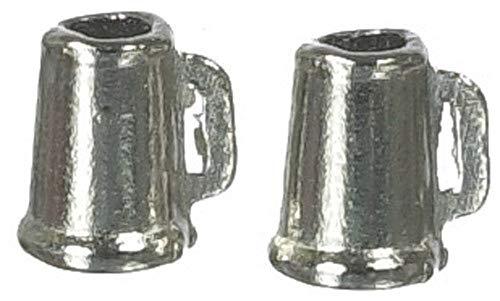 Maison De Poupées Miniature 1:12 Échelle Pub Bar Accessoire 2 Grandes Tasses Chopes À Bière En Étain