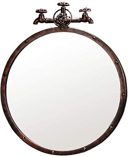 GLXLSBZ Espejo de Pared Baño Espejos de Metal de Pared Espejo Mural Decorado para Sala de Estar Diseño de Grifo Retro 1,1