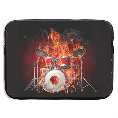Fashion Computer Liner Sleeve Case Fire Skull Play The Drums Portable Laptop Protective Bag Cover Handbag for MacBook Pro/MacBook Air/Asus/Dell,15inch