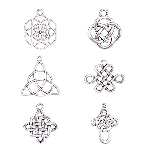 PH PandaHall 60 Pieces 6 Style Tibetan Alloy Celtic Knot Cross Charms Pendants Beads Charms for DIY Bracelet Necklace Jewelry Making