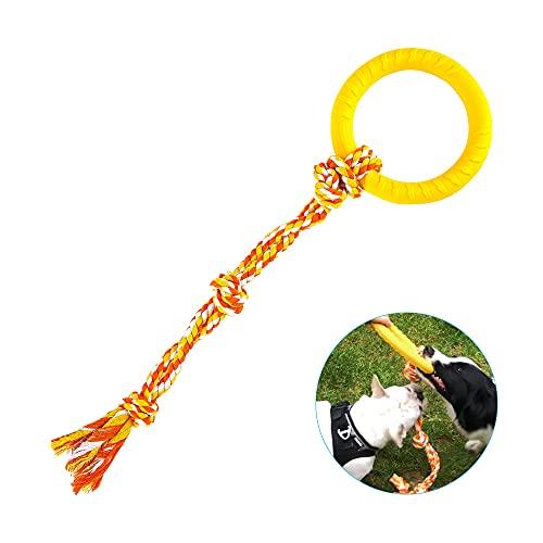 PMLAAK Hundespielzeug aus Seil für mittelgroße und große Hunde, 2-in-1 Hundespielzeug, Ringspielzeug, Outdoor-Hundespielzeug für aggressive Kauer, robustes Hundespielzeug, Welpenspielzeug zum Zahnen