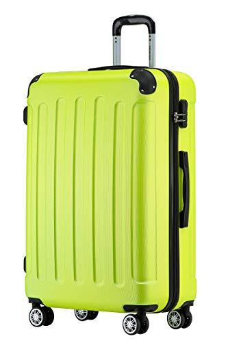 BEIBYE Hartschalen-Koffer Trolley Rollkoffer Reisekoffer Handgepäck 4 Rollen (M-L-XL-Set) (Green, XL)