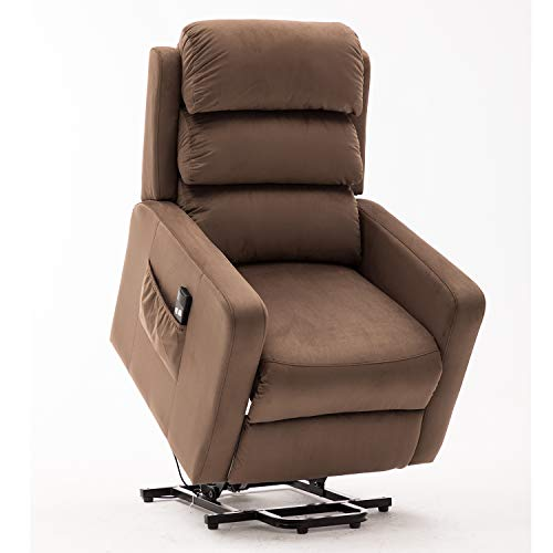 Bonzy Home Power Lift Recliner Chair Velvet Fabric Electric Recliner with Remote Control - Bedroom & Living Room Chair Recliner Sofa for Elderly (Brown)