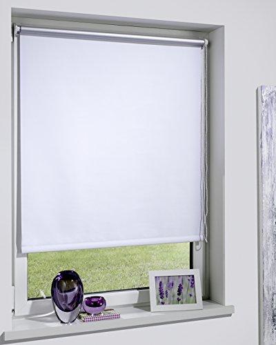 DécoProfi THERMOROLLO weiß, Silber beschichtet, verdunkelnd, TEXTILBREITE ca. 119cm/Systembreite 120cm, Länge 160cm, mit Klemmträger/Klemmfix/ohne Bohren