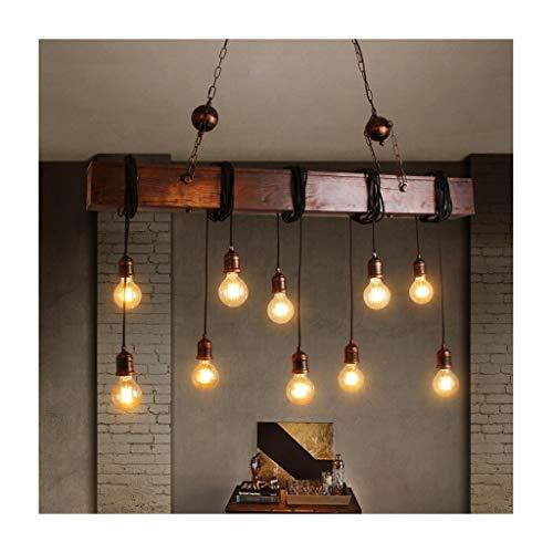 LJF Lampe . Lámpara colgante retro industrial, hierro forjado, decoración de madera maciza, E27, lámpara de techo, bar, restaurante, cafetería, tienda de ropa, Loft