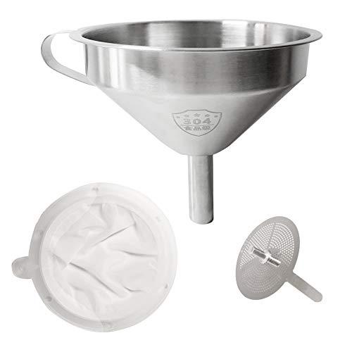 Daymi Edelstahl-Trichter, Multifunktions-Hausfiltertrichter, mit Filter, geeignet für die meisten Flaschen, Tassen, leicht zu reinigen