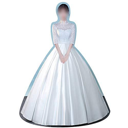 ZSRHH-Kleid Frauenkleid Mode einfache Show dünne Kragen chinesische Hochzeitskleid Hochzeitskleid (Design : 2, Size : M)