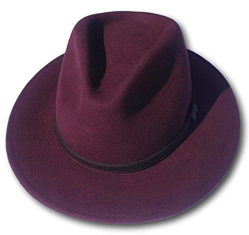 Thorness Burgundy Wide Brim 100% Wool Felt Fedora Trilby Hat - Medium