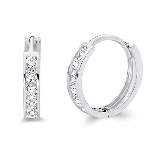 14k REAL White Gold 2mm Thickness CZ Channel Set Hoop Huggie Earrings (12 x 12 mm)