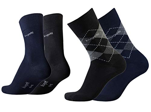 Bugatti Herren Socken 4er Pack Argyle + uni dark navy,anthrazit melange, Size:43-46, Farben:blk/nav