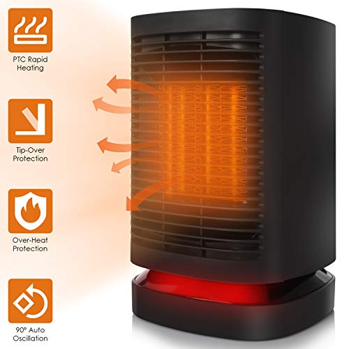 COMLIFE Ceramic Space Heater, 950W Portable Electric Fan Heater with Auto Oscillation, Mini Personal PTC Heater with Fan, ETL Listed, Tip-Over&Overheating Protection for Office Indoor Home Heater Oscillating Space