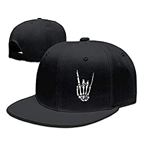 Rock N Roll Skeleton Hand Baseball Cap for Men Flat Bill Snapback Trucker Hats for Dad and Women Cotton Adjustable Black