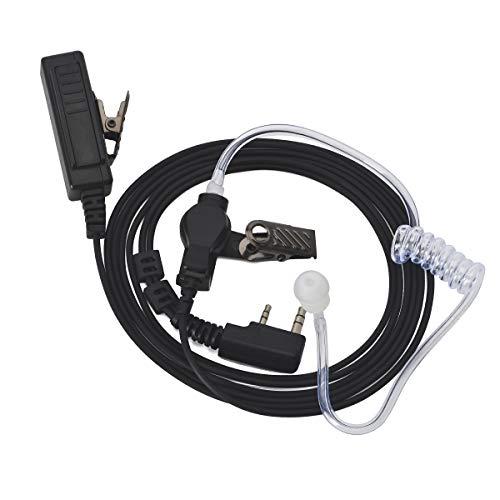 HYS Tubo de sonido para auriculares – 2 pines transparente con clip de sujeción – Auriculares inalámbricos compatibles con Baofeng BF-888S UV-5R Kenwood Walkie Talkie