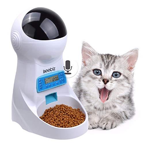 Iseebiz 3L Distributore Automatico Cibo Gatti Dispenser Cibo Gatti con 4 Pasti al Giorno con Promemoria vocale Funziona con la Spina o le Batterie