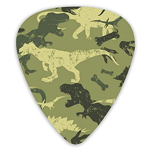 Camouflage Dino Guitar Picks Music Picks Includes Thin Medium And Heavy Gauge Unique Guitar Gift For Bass Electric Acoustic Guitars (12 Count)
