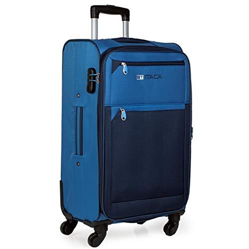 ITACA - Maleta de Viaje 4 Ruedas Mediana Trolley 67 cm poliéster eva Extensible. Blanda y Ligera. Mango Asas candado. Estudiante Profesional. 701060, Color Azul-Azul Marino