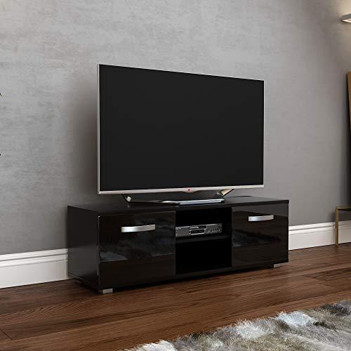 Vida Designs Cosmo Mueble de TV de 2 Puertas, Moderno, Acabado Mate, 120 cm, Color Negro, 120cm-No LED Lights