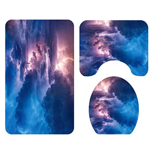 HGG Blitz Blue Cloud WC-vloerbedekking, waterdicht douchegordijn, Sanitary scheidingswand, gordijn, 3 stuks, 4 stuks