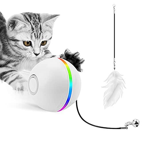 Interaktives Katzenspielzeug Ball, Clever Katzenballspielzeug Wiederaufladbar mit LED-Licht Auto 360° Selbstdrehend Katzenspielzeug Für Katzen USB Wiederaufladbar Kitty lustige Verfolgerrolle
