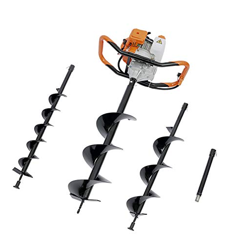 2021 New Earth Auger 2-Stroke 52cc Gas Powered Auger Post Hole Digger with 3 Bits (4