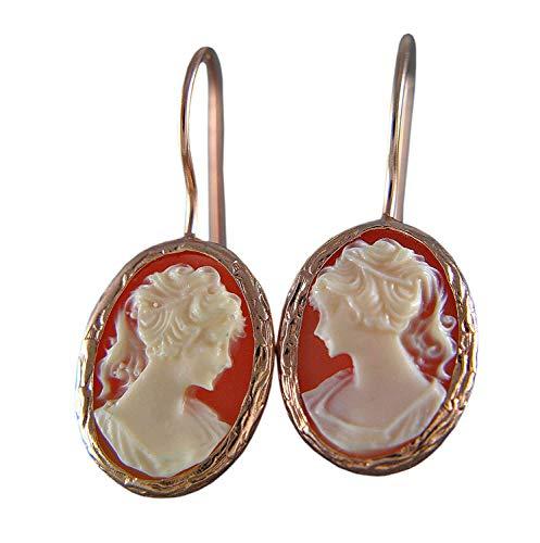 Lady Cameo - aretes vintage chapados en oro rosa - pendientes - idea de regalo - para ella - esposa - madre - hermana - gema - dama - romántico - antiguo - hecho a mano - coral