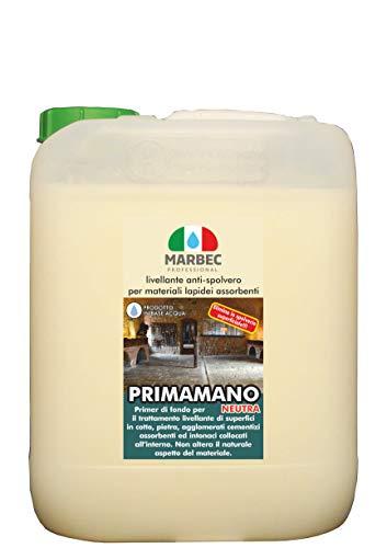 Marbec - PRIMAMANO Neutra 5LT | Livellante Anti-spolvero per Materiali lapidei assorbenti