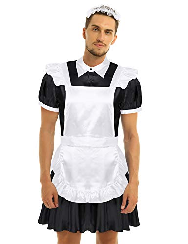 inhzoy Männer Sissy Dessous Crossdresser Maid Cosplay Kostüm Sexy Hausmädchen Kleid Satin Schlafanzug Unterwäsche Schwarz XX-Large