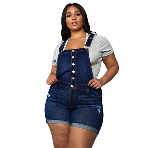 Ansenesna Latzhose Jeans Für Mollige Damen Kurz Elegant Hose Frauen Zerissene Denim Hose (Blau,XXL)