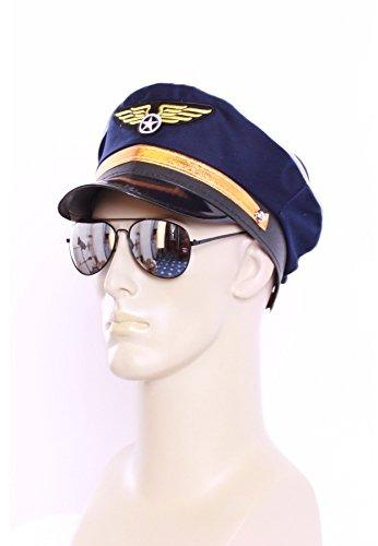 Marco Porta Pilot Set Outfit Kostüm Zubehör Pilotenmütze + Pilotenbrille