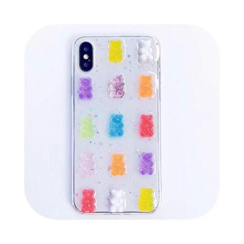 Lindo 3D estéreo Glitter teléfono caso para iphone 12 11Pro Max Gummy Bear Candy Color caso para iPhone X 6 6S 7 8 Plus XS Max XR cubierta-oso gomoso para iphone 11