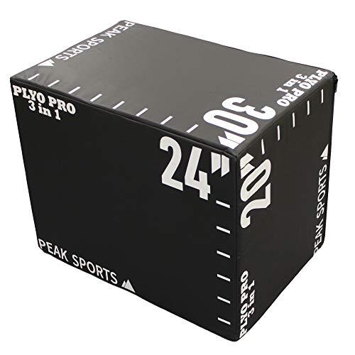 Peak Sports Caja de salto suave 3 en 1, grande, 30 x 24 x 20 pulgadas (blanco y negro)